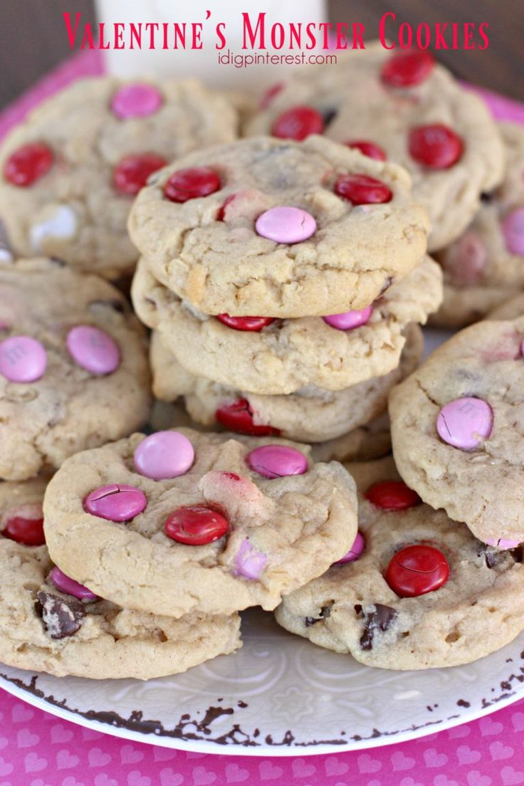 Valentine's Monster Cookies. These soft, chocolate-y cookies are loaded with goodness!