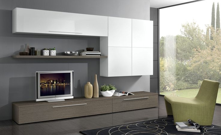 Parete soggiorno spring larice grigio e bianco conforama for Soggiorno grigio
