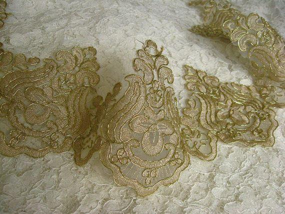 gold Bridal Lace trim, Alencon Lace Trim, wedding lace, cord embroidered lace, vintage trim lace