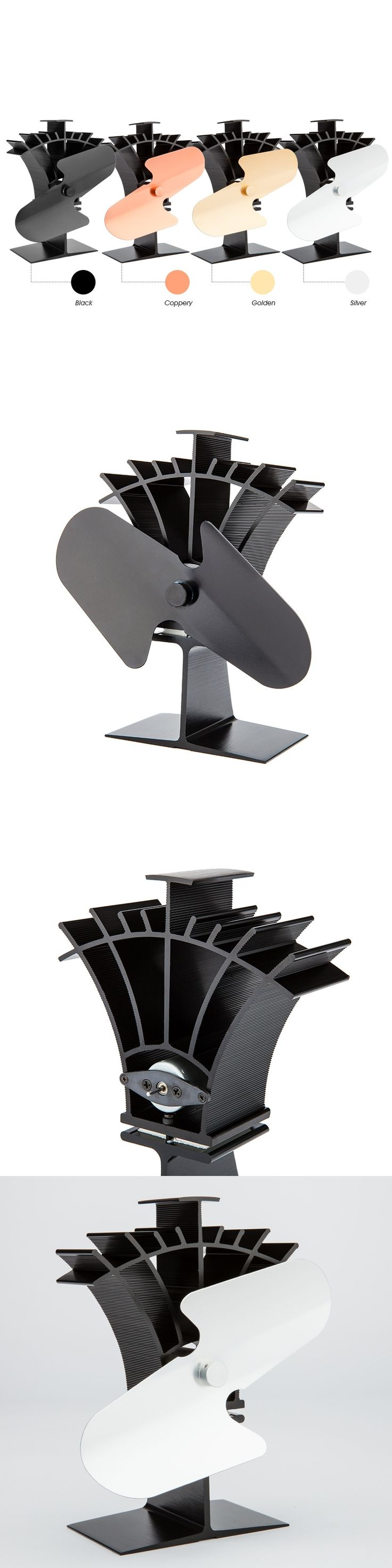 Generate Its Own Power by Heat Eco Friendly Anodized Aluminum 2 Blade Heat Powered Stove Fan