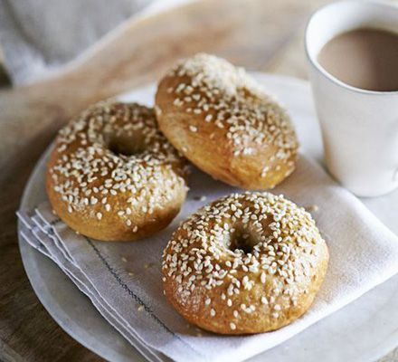 Bagels. Great British Bake Off 2010 winner, Edd Kimber, shows us how to make these distinctive bread buns with seeded toppings