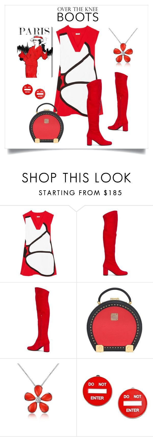 """""""Red & Black Style"""" by metter1 ❤ liked on Polyvore featuring Kenzo, Yves Saint Laurent, MCM, Del Gatto, Moschino and Oliver Gal Artist Co."""
