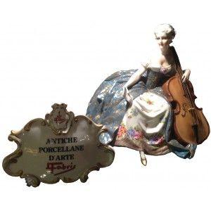 """Dama con violoncello """"Antiche porcellane d'arte Fabris"""""""