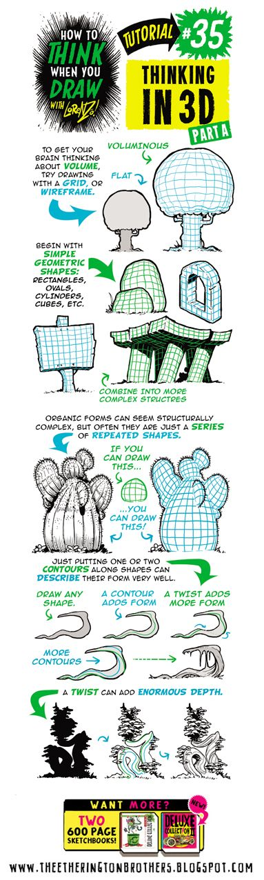 Scroll down for this week's tutorial, looking at How to THINK When you DRAW in 3D , in which I explain how to think in three dimensions , an...