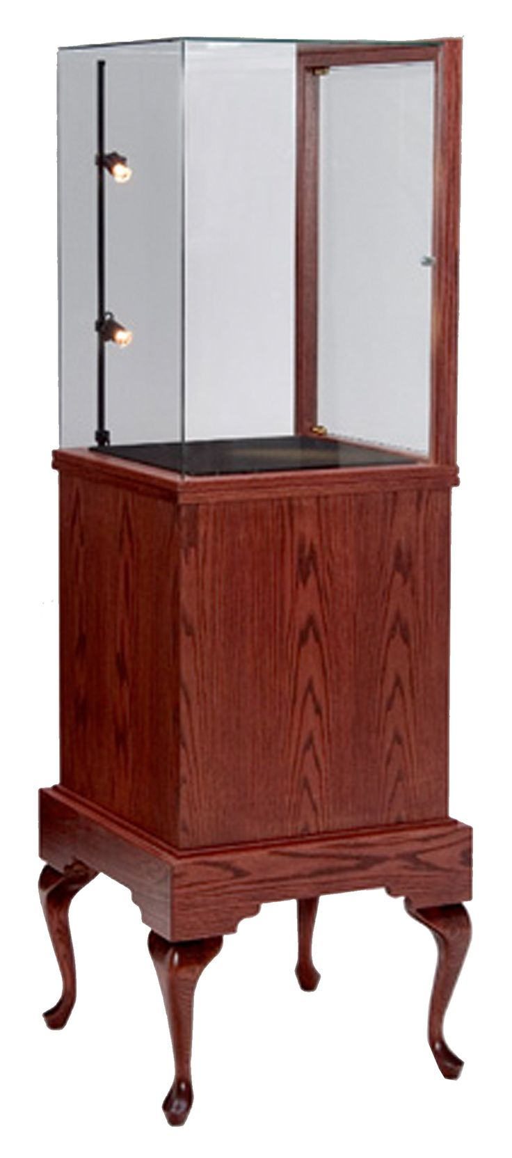 Queen Anne Half Vision Pedestal Glass-on-Glass with Storage http://custom.display-smart.com/pedestal-display-cases/queen-anne-half-vison-pedestal-display-case-ggs.html