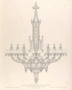 A Gothic chandelier (1836)-The NYPL Digital Gallery provides FREE PRINTABLE and open access to over #800,000 #VINTAGE  images  including illuminated manuscripts, historical maps, vintage posters, rare prints, rare art, photographs and more!! AMAZING RESOURCE !!