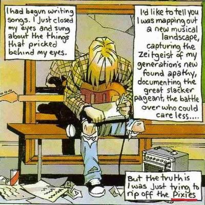 A teenage Kurt cartoon containing Cobain quotes.