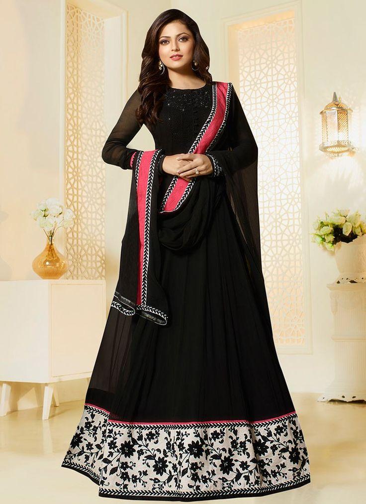 Shop Drashti Dhami black color georgette party wear salwar kameez online at…