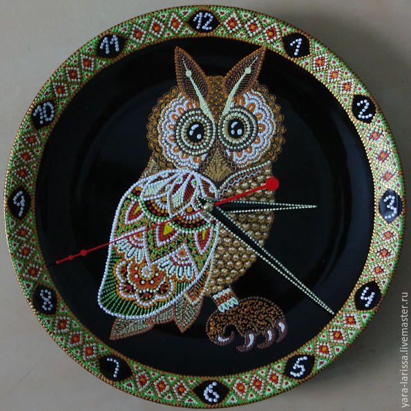 """Купить """"Сова"""" часы настенные интерьерные - комбинированный, сова, часы настенные, часы с совой"""