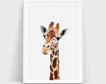 Stampa giraffa Safari vivaio animale Wall Art di AMELIEVintageCo