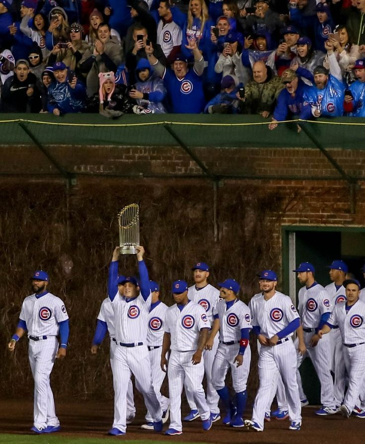The Chicago Cubs celebrate their 2016 World Series win at their Home Opener at Wrigley Field - April 10, 2017