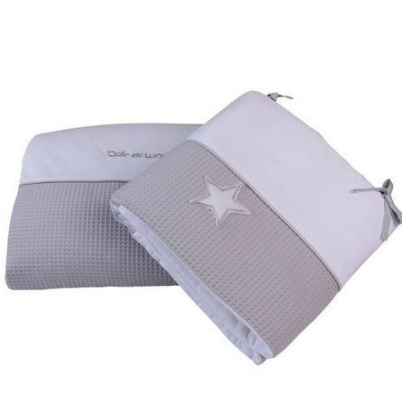 Clair de Lune Silver Lining Grey Crib Quilt and Bumper Bedding Set