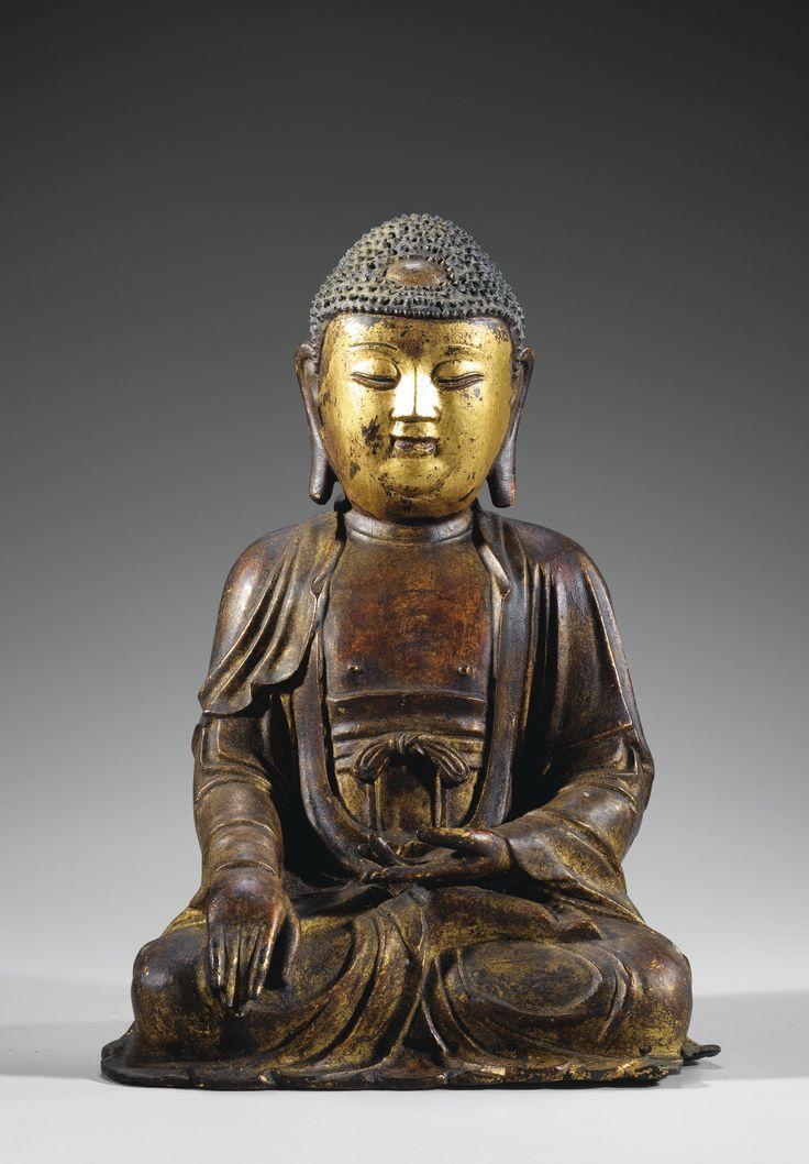 A LACQUER-GILT BRONZE FIGURE OF SHAKYAMUNI BUDDHA, MING ...