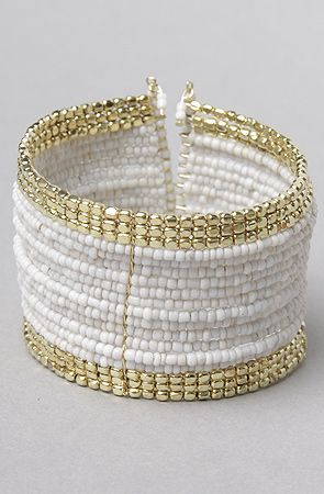 The Bead Cuff Bracelet in White