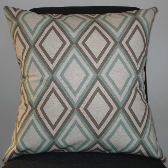 New 18x18 inch Designer Handmade Pillow Case in taupe and kelp green diamond pattern.