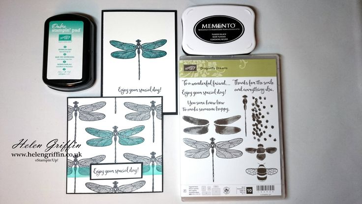 Tutorial - Simple Black, White & Turquoise Dragonfly Dreams Card