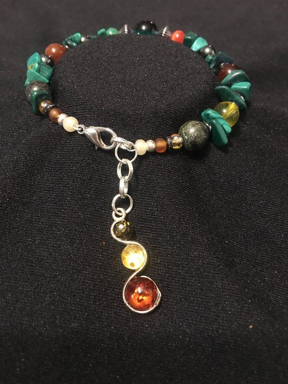 1e2a0828f Beaded bracelet, malachite, carmeline, amber, dark green jade ...