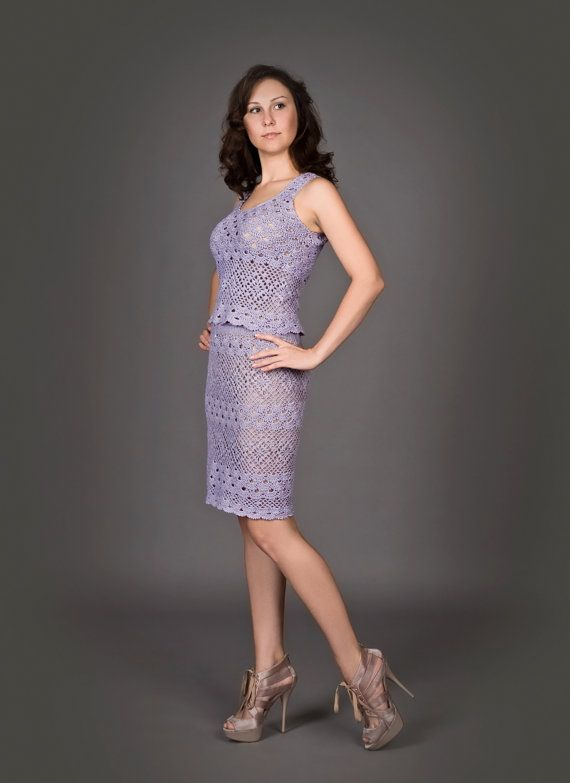 DELIA - CROCHET TWO-PIECE DRESS MADE BY HAND IN SPAIN  ...an exclusive made by hand two-piece dress (top and skirt) for a special occasion...