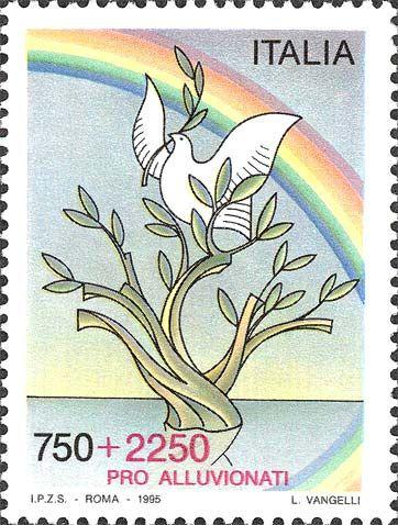 1995 - Pro alluvionati - È il primo francobollo della repubblica con sovrapprezzo, destinato ad aiutare le popolazioni del Piemonte colpite dall'alluvione del Po e del Tanaro esondati nei giorni 4 - 5 e 6 novembre del 1994 - su una linea d'acqua, l'arcobaleno, la colomba e l'ulivo, simboli di pace e solidarietà