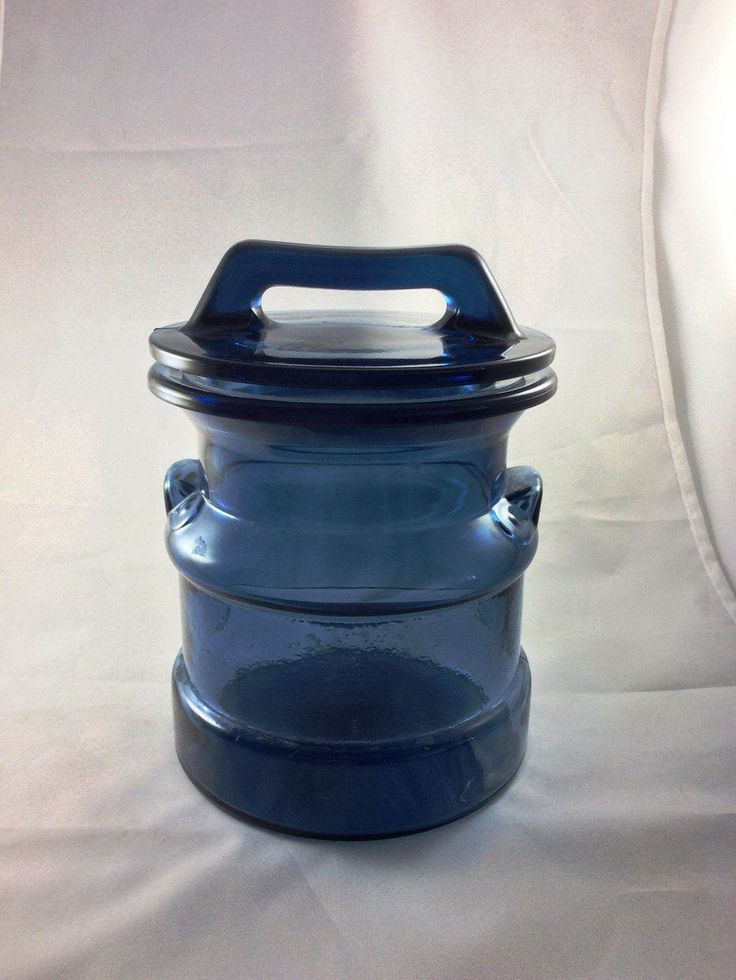 Cobalt Blue Glass-Milk Can Style Canister-Storage Jar-L.E. Smith Glass Company-Vintage Kitchen Storage-Cookie Jar-Countertop Utensil Caddy by KatsCurioCabinet on Etsy