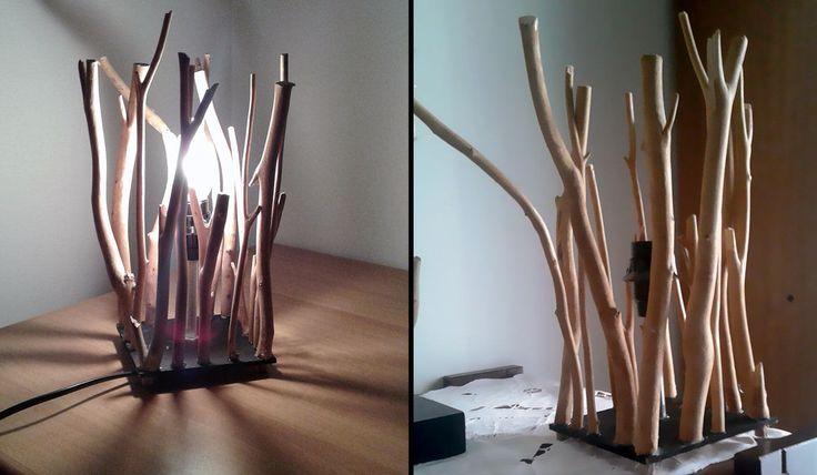 Lampada artigianale in legno marino da tavolo con paralume design rustico per arredamento classico etnico Shabby Chic driftwood lamp di VintageShop2016 su Etsy
