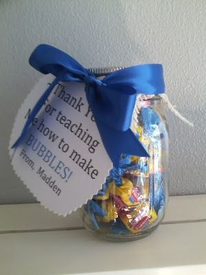 "Swimming Teacher Gift: bubble gum + tag reading, ""Thank you for teaching me how to make bubbles."""