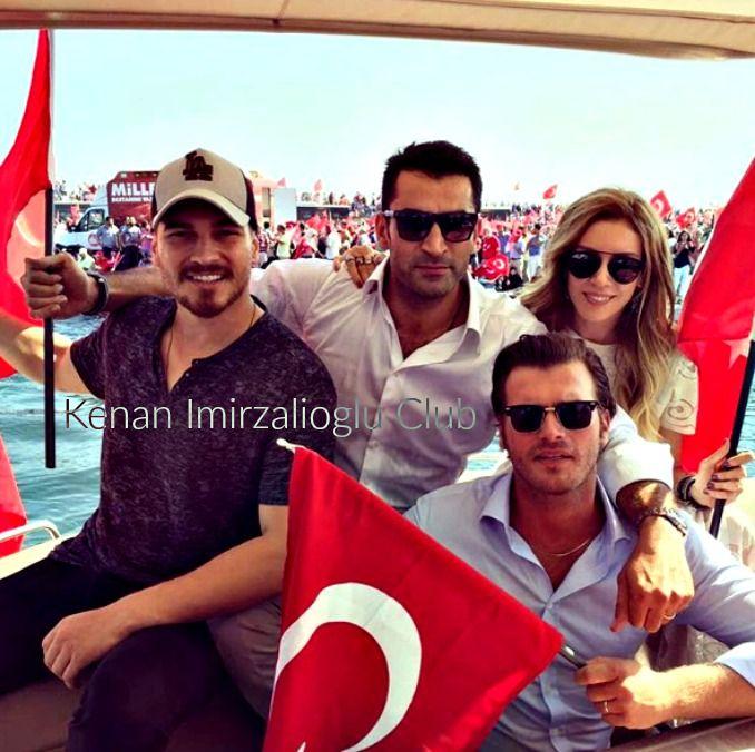 #kenaİmirzalıoğlu , #SinemKobal , #KıvançTatlıtuğ and  #ÇağatayUlusoy at #Yenikapı (7/8/2016).