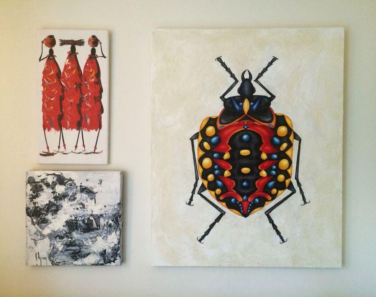 Canvas paintings over my sofa. #art #painting #canvas #bug #acrylic