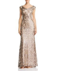 Aidan Mattox Embellished Boatneck Gown - Rose Gold | Mother ...
