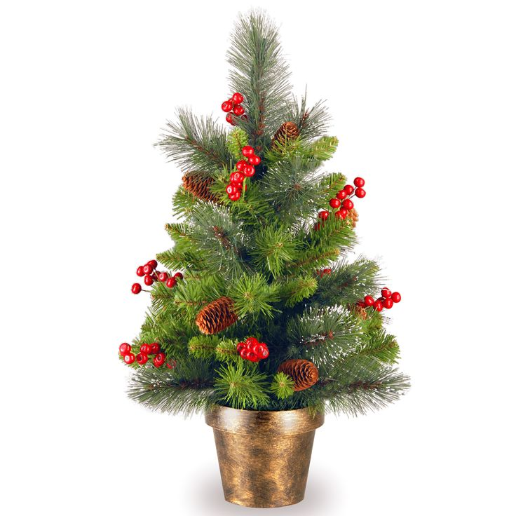 2 crestwood spruce green small artificial christmas tree - Mini Live Christmas Trees
