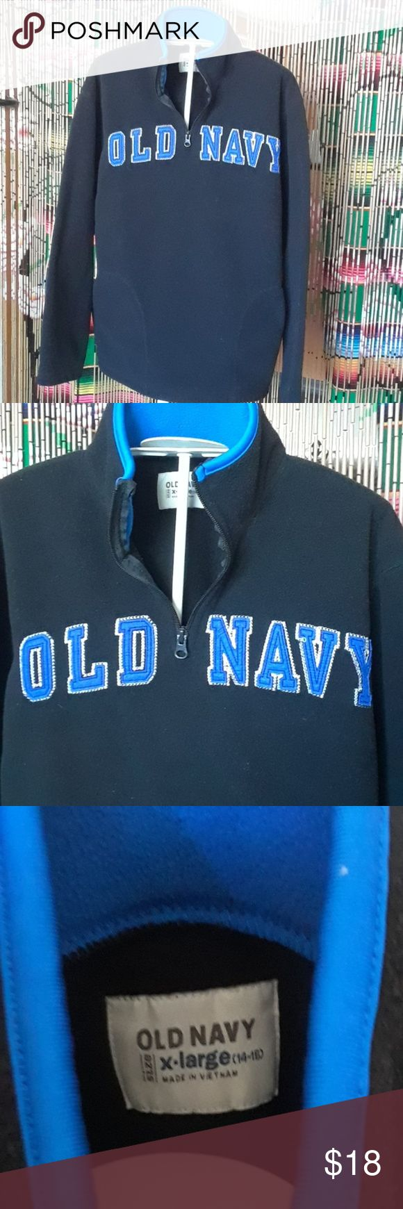 Old Navy fleece Black and blue Old Navy fleece pullover Bits size XL  14/16 Front pockets  My son won't wear it #likesbiggerclothes Old Navy Shirts & Tops Sweatshirts & Hoodies