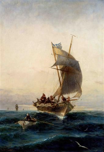Fishing boat on choppy waters - Konstantinos Volanakis greek painter 1837-1907