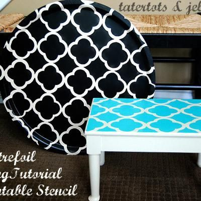 Printable Stencil for a Furniture Makeover: Quatrefoil Painting, Quatrefoil Stencil, Ideas, Furniture Makeover, Diy Crafts, Free Printable Stencils, Diy Projects, Top