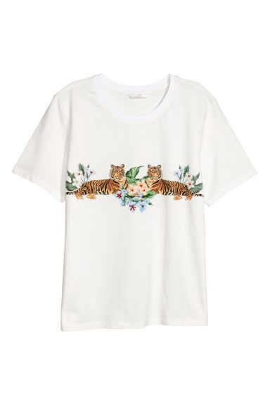 Appliquéd T-shirt - Natural white - Ladies   H&M GB 1