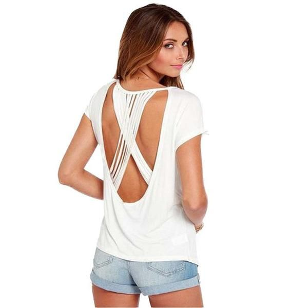 Sexy Strappy Back Shirt (Plus Sizes Available). www.UNiQUEHiGH.com. Save An Extra 30% On ALL Orders.