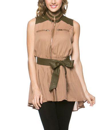 Look at this #zulilyfind! Beige Zip-Up Trench Vest #zulilyfinds