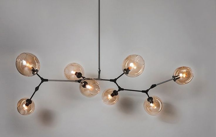 Wide big ceiling lamp with eight Grey hand blown glass globes and steel base, available to buy in Stockholm at dusty deco vintage interior store.