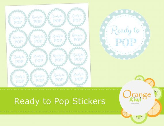 Ready to Pop Stickers  Bleu Baby Shower by OrangeKiwiDesign
