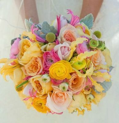 yellow, peach, gray and pink wedding flower bouquet, bridal bouquet, wedding flowers, add pic source on comment and we will update it. www.myfloweraffair.com can create this beautiful wedding flower look.