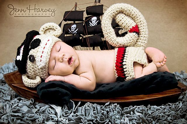 Newborn Pirate Sock Monkey Hat and Diaper Cover Set pattern by Michelle Nash $ ~via Ravelry