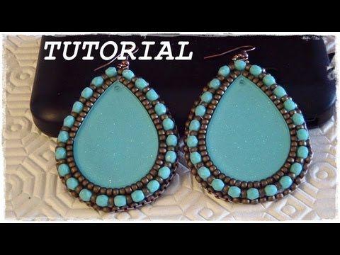 """Tutorial Embroidery: Orecchini """"Gipsy"""" come lavorare e rifinire un cabochon #2 (Embroidery Earrings) - YouTube"""