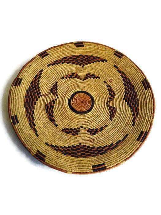 "Vintage Wall Basket Navajo Basket 17"" Wall Hanging Platter Tray Bohemian Native American Rustic Southwestern Morocco Berber Style Bowl Wall"