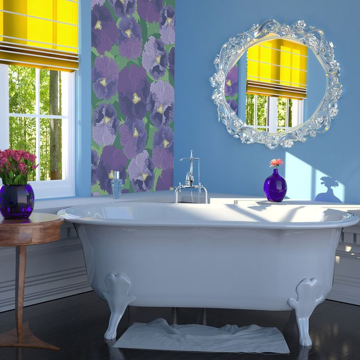 Classic Bathroom with glamour bath and floral wallpaper by Fototapeta4u.pl