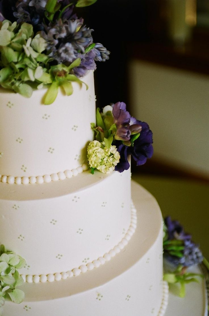 Wedding Reception Cake Green Purple