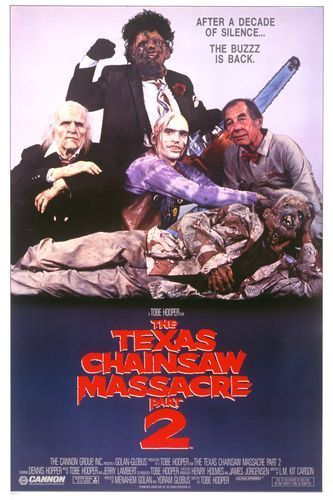 THE TEXAS CHAINSAW MASSACRE 2: Directed by Tobe Hooper.  With Dennis Hopper, Caroline Williams, Jim Siedow, Bill Moseley. A radio host is victimized by the cannibal family as a former Texas Marshall hunts them.