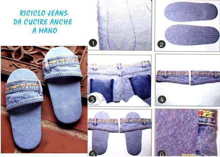 Pantuflas con mezclilla reciclada