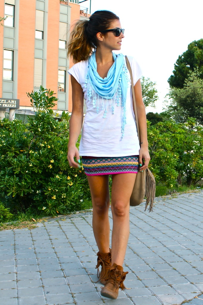 Summer festival essentials: colorful scarf, fringe bag and boots #mimiboutique #fashion #accessories