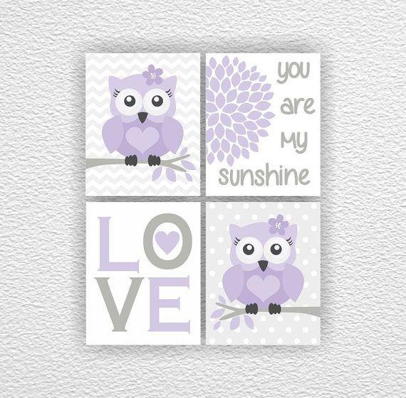 Owl, Love, Flower, You are my sunshine, Chevron, Gray Lavender, Girl Room Playroom Decor Art Set of 4, 8x10
