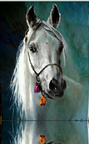 White horse painting with teal blue green background. Stunning! – Hatice Güner