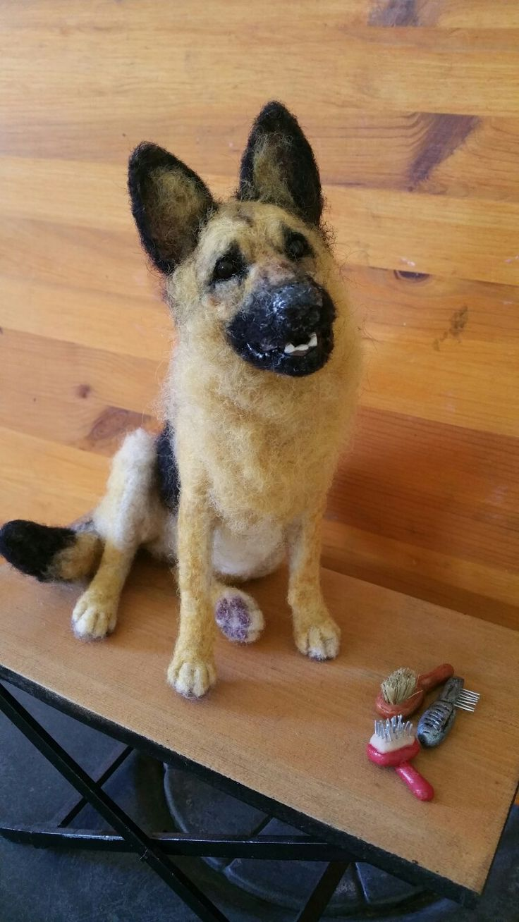 Needle felted GSD by ChicktinCreations